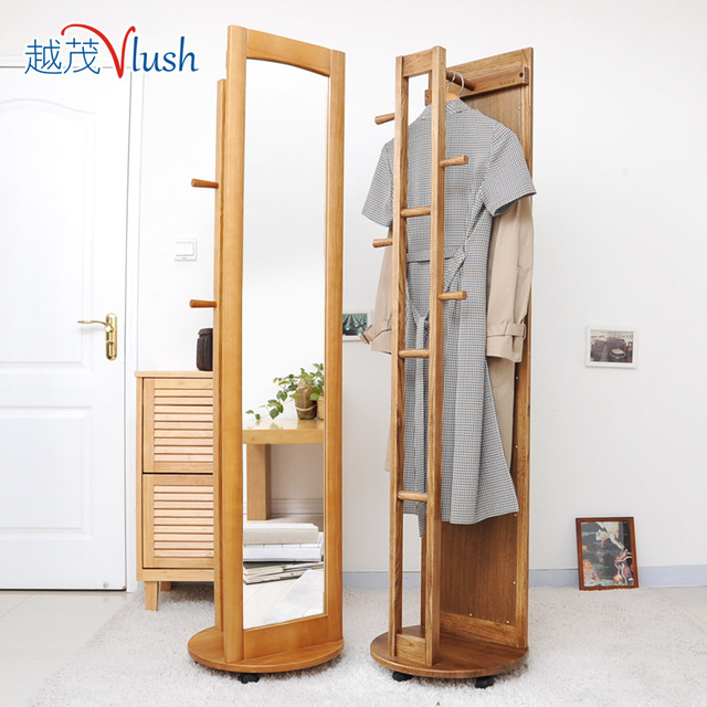 All Solid Wood Floor Length Mirror Dressing Body Rotating Multifunction Ash Hangers