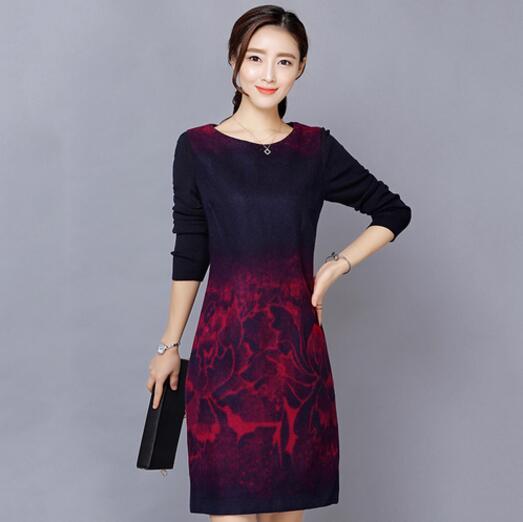 49cc150a8 2019 nuevo otoño invierno coreano Playa de las mujeres de punto de manga  larga costura flores