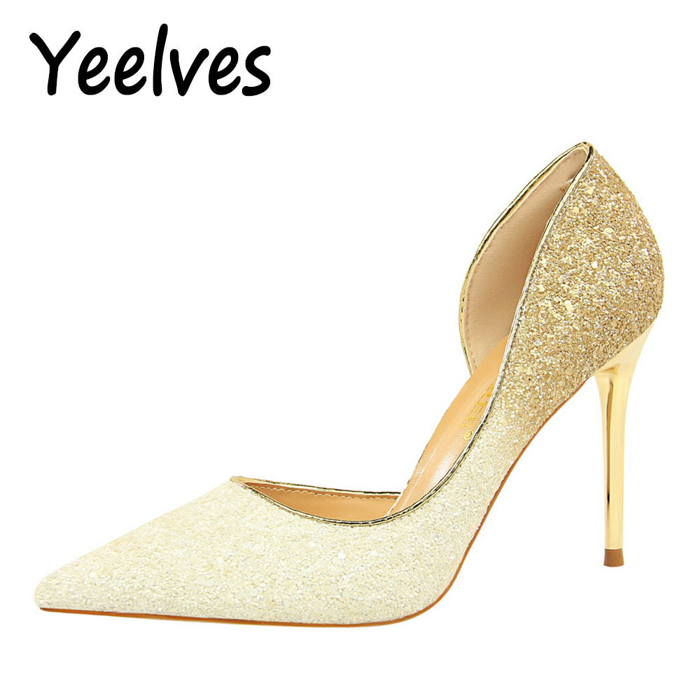 New Women Pointed Toe High heels Pumps Fashion Squined Cloth Black Thin Heels Womens Sparkling Shoes Plus Size Bling Ladies pump yeelves new women fashion thin high heels pumps yellow or black heels court shoes pumps for ladies girl party plus size bowtie