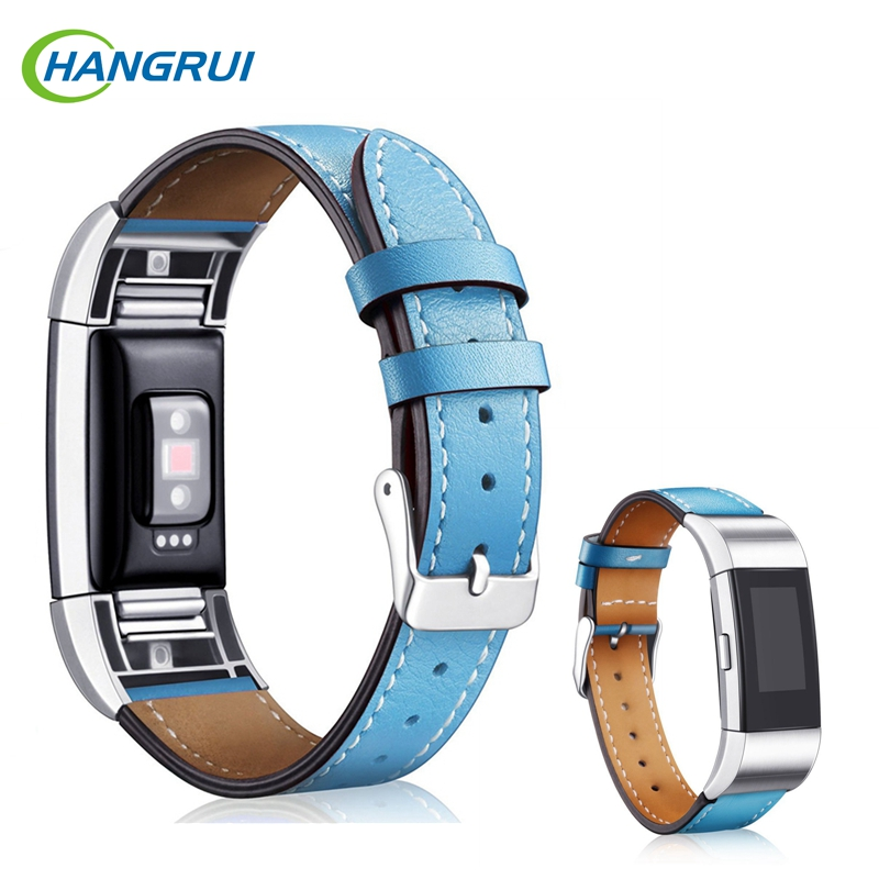 hangrui Leather Straps For Fitbit Charge 2 Bracelet leather band Smart Fitness WatchBand for Fitbit charge 2 with steel frame