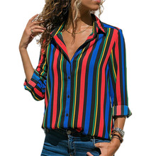 2019 Women's Spring Striped Chiffon Shirts Casual Loose Long Sleeve V-Neck Contrast Color Blouse Women Tops Plus Size Blouses