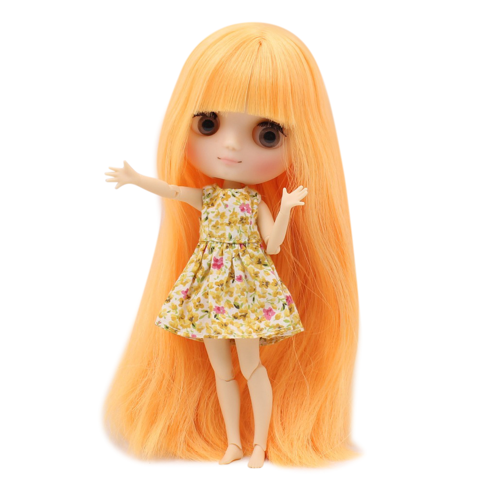 Middie blyth doll joint body matte face gray eyes mango yellow hair with bangs 20cm with