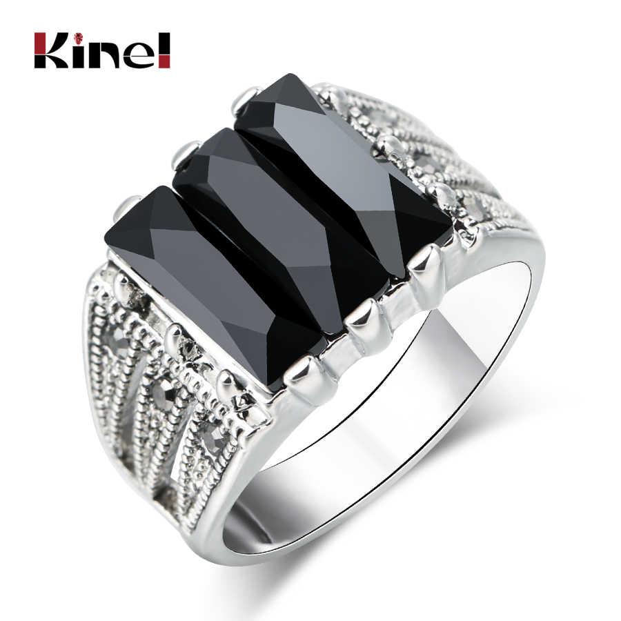 Kinel Hot Gothic สีดำแหวนผู้ชายโบราณเงินโมเสคคริสตัล Vintage เครื่องประดับขนาดใหญ่ขนาด 9 10 11 Punk งานแต่งงานแหวนของขวัญ