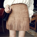 2017 New Small Fragrant Wind A-Line Suede Tassel Skirt High Waist Bag Hip Skirt Women Pencil Mini Artificial Leather