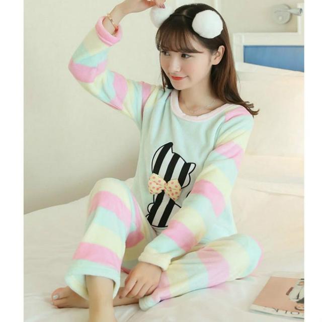 Animal Dos Desenhos Animados Pijamas femme Inverno Primavera Outono mulheres conjunto de pijama de Algodão pijamas roupa em casa para as mulheres