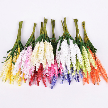 10Pcs/lot Mini PE Lavender Artificial Flowers for Wedding Home Decoration DIY Craft Gift Bride Wreath Scrapbooking Fake Flower
