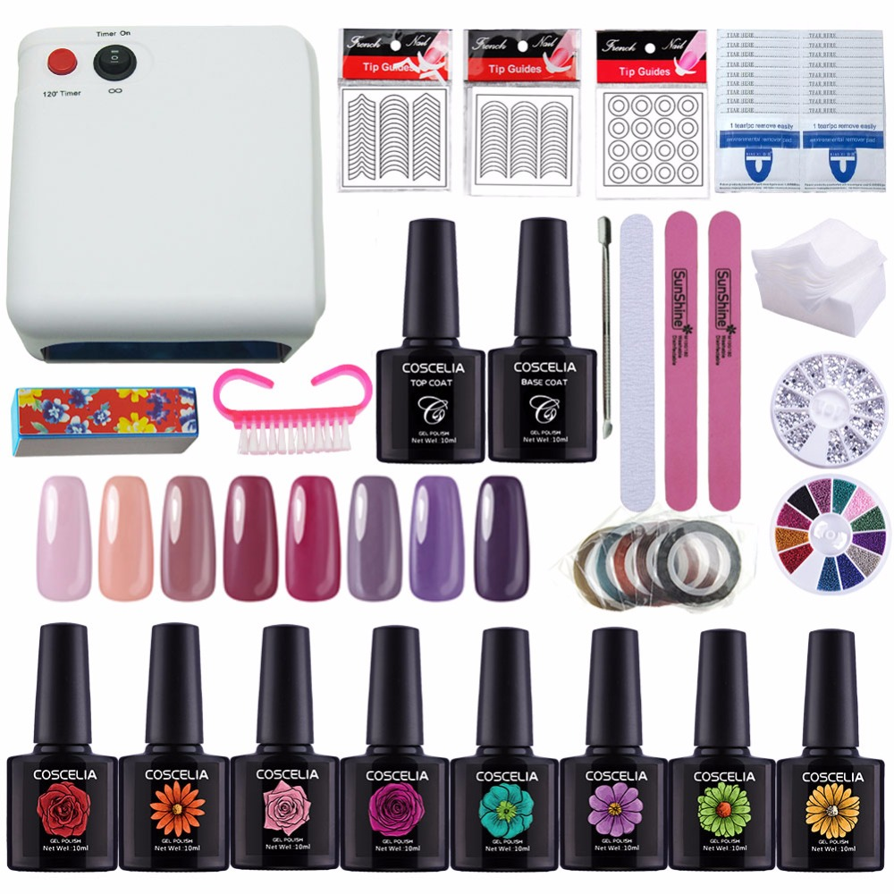 New Manicure Set Gel Nail Lamp Nail Art Kits Gel Polish Top Coat And Base Nail Polish Set Nail Extension Set 36W UV Lamp LED Gel