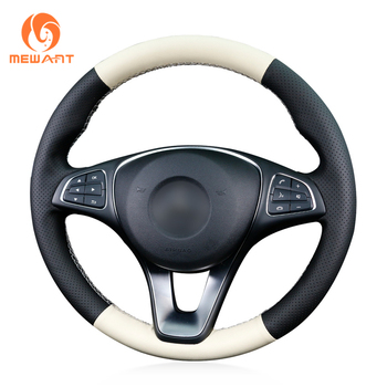 MEWANT Black Beige Leather Comfortable Soft Hand Sew Wrap Car Steering Wheel Cover for Mercedes Benz C180 C200 C260 C300 B200