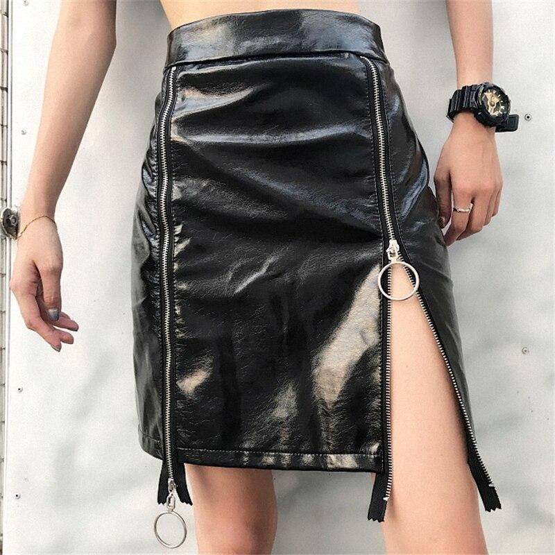 Rocksir Punk Harajuku Holographic PU Leather Skirts Women 2018 Glitter Double Zipper Sexy Short Skirt Ladies Casual Streetwears