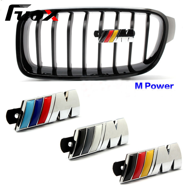 3D Metal ///M M Power Car Front Grille emblem For BMW E39 E90 E60 M Badge E36 E30 F30 F10 X5 Chrome Badge 3D metal Logo Emblem 1pcs 3d metal s5 car front grille adhesive emblem badge stickers accessories styling for audi a5 s5