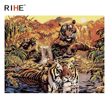 RIHE Tiger Swim Diy Painting By Numbers Animal Oil On Canvas Hand Painted Sunset River Cuadros Decoracion Acrylic Paint