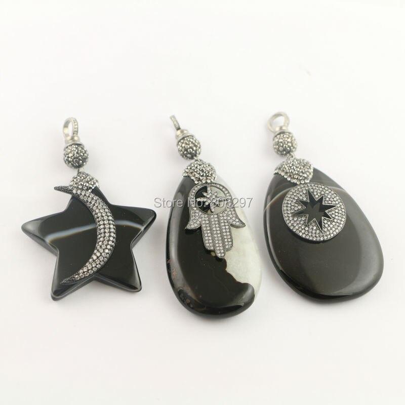 Fashion 4Pcs Pave Rhinestone Mixed Style Black Stone Druzy Pendant With Czech Crystal Pendants Jewelry Finding