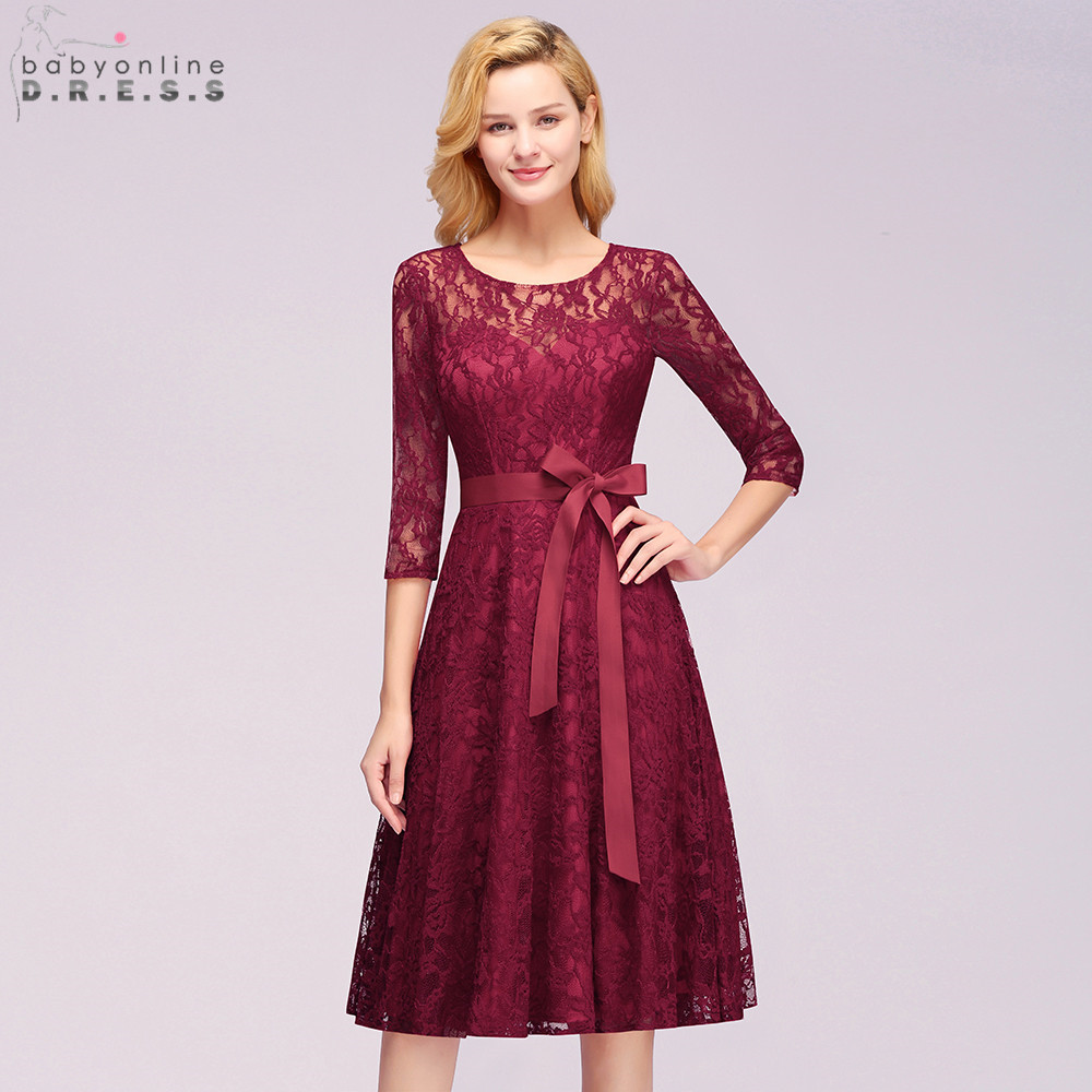 $9.9 Plus Size Burgundy Lace Short Evening Dress Sexy Hollow Out Three Quarter Sleeve Evening Gowns Robe De Soiree Courte