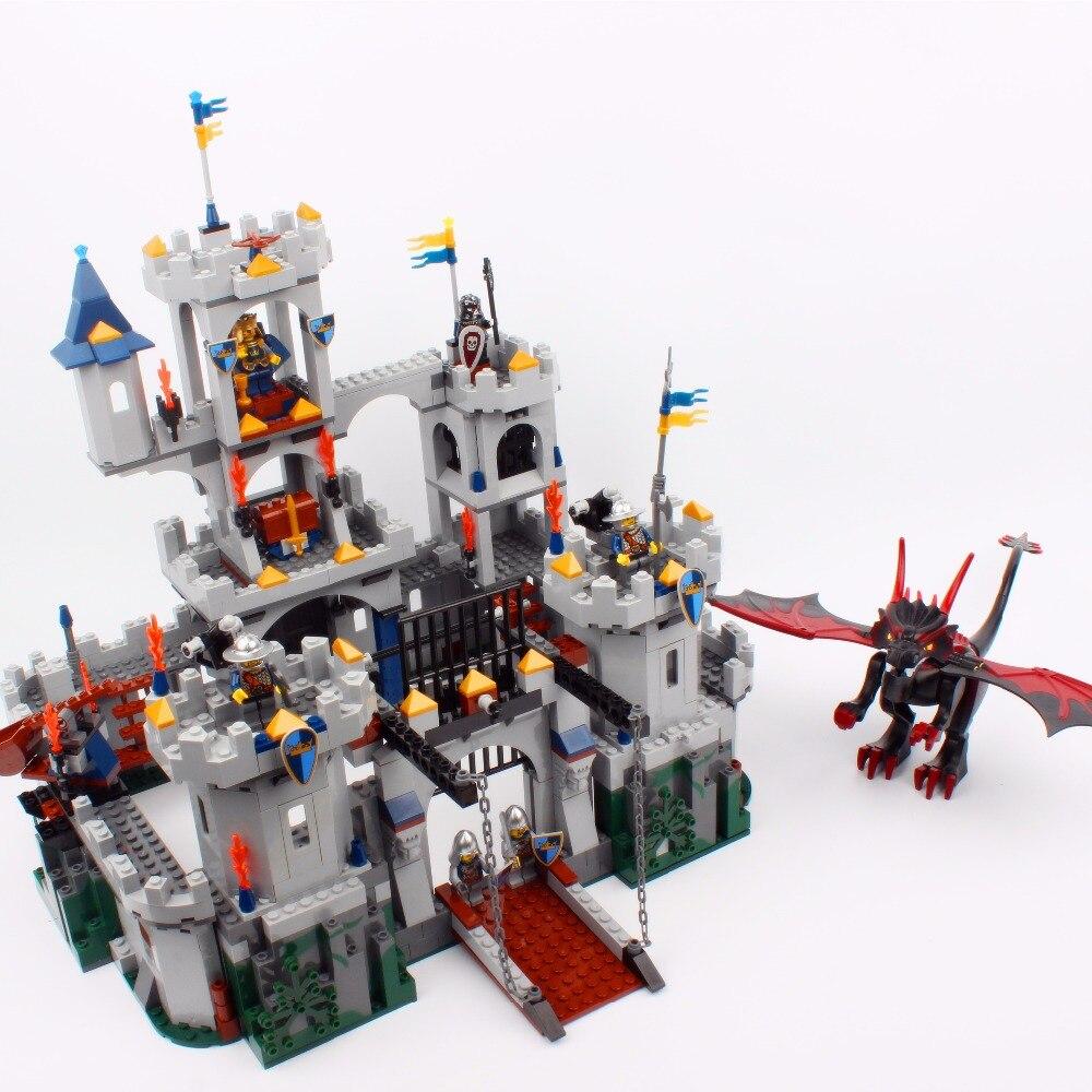 16017 Film Série Roi Château Bataille Siège Ensemble 1023 Pcs Building Block Jouets Compatible avec Ville 7094