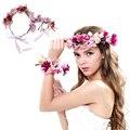 Mulheres Coroa de Flores de noiva Do Casamento de Rosa Flor headband & Pulso Flor Da Coroa Do Partido Dos Miúdos acessórios para o cabelo coreano ajustável guirlandas