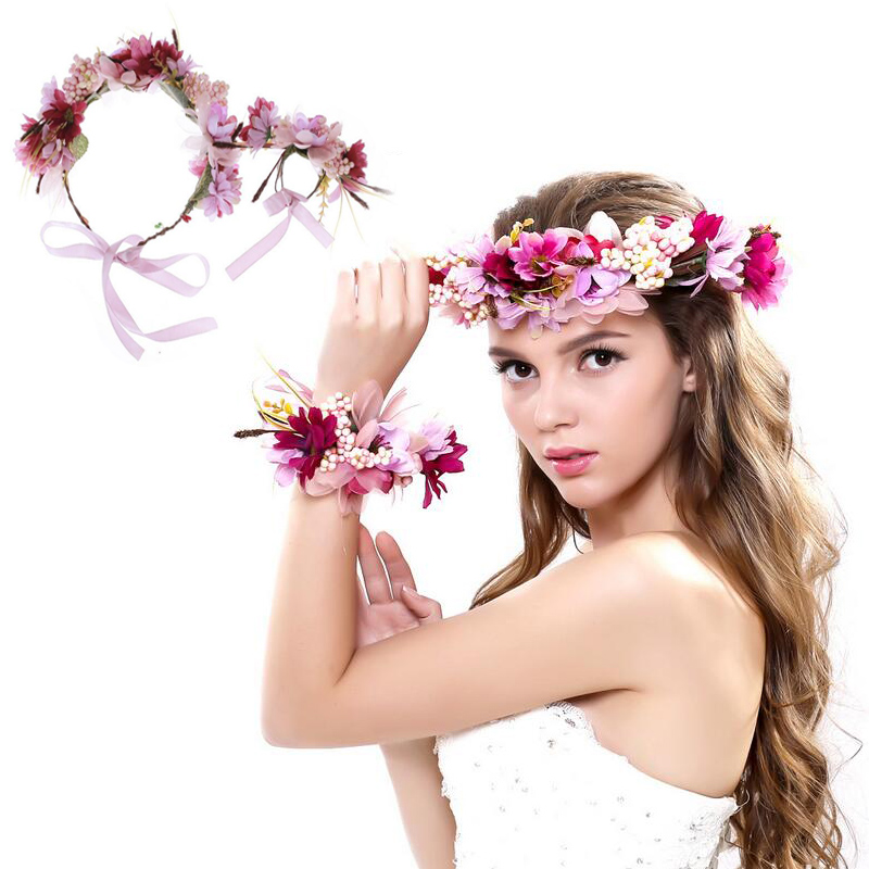 Frauen Hochzeit Rose Flower Wreath Braut Stirnband & Wrist Kids Party Flower Crown koreanische Haarschmuck verstellbare Girlanden