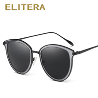 ELITERA Classic Sunglasses Women Luxury Brand Designer Metal Temple HD Polarized Sun Glasses Vintage With Box