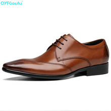 QYFCIOUFU 100% Genuine Leather Mens Dress Shoes  High Quality Oxford Shoes For Men Lace-Up Business Shoes Pointy Wedding Shoes