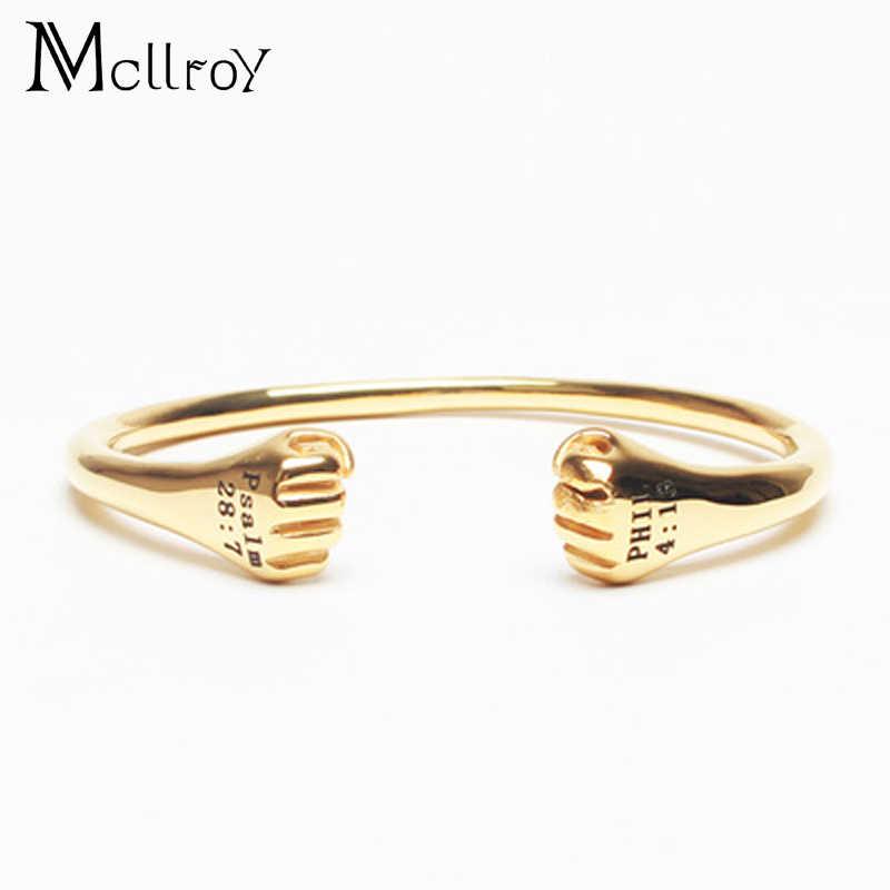 Mcllroy otwórz mankiet Bangle mężczyźni Fist bransoletki tytanu stali bransoletki otwarcie złota dubaj/brazylia/bransoletki i bangle dla mężczyzn kobieta