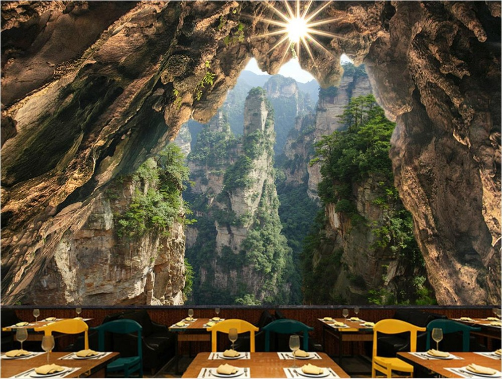 Stereoscopic Wallpaper Cave Stone Cliff forest Wallpapers Background Landscape Living Room Sofa 3d-Wallpaper-Walls cliff нк 302 40