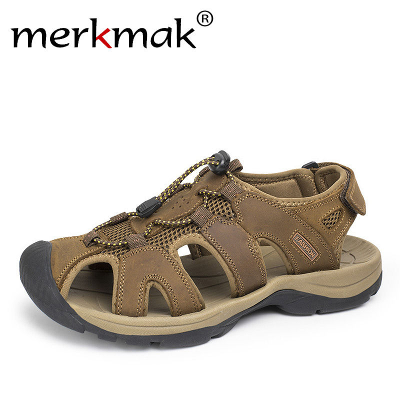 Merkmak Plus Size 38-46 Men Sandals Genuine Leather Fashion Summer Men Slippers Breathable Mens Sandals Causal Shoes Outdoor