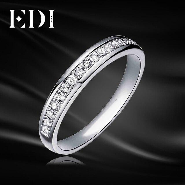 EDI 0.21 cttw природных алмазов обручальное для Для женщин 9 К белого золота свадебные Обручение кольцо Ювелирные изделия с алмазами