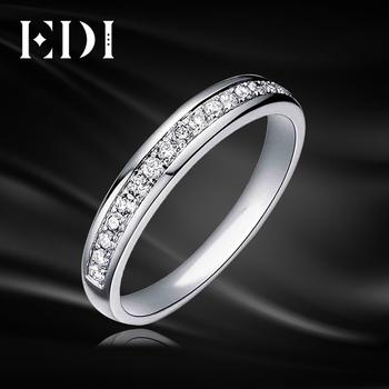 EDI 0 21 cttw Natural Diamond ślub Band dla kobiet 9K Solid White Gold ślub zaręczyny pierścionek diament biżuteria tanie i dobre opinie Fine Rings 0 21cttw Ślub Doskonałe R0059 Wedding Bands 6616814211 Klasyczny GDTC Round Shape Prong Setting Okrągłe