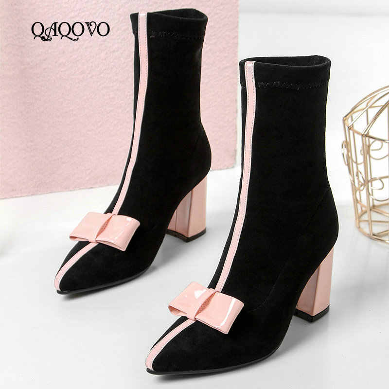 Sweet Bow Ankle Boots Women Faux Suede Square High Heel Stretch Boots Slip On Fashion Pointed Toe Autumn Winter Ladies Shoes