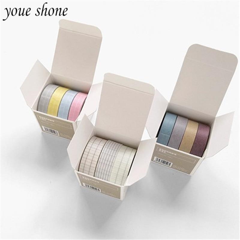 YOUE SHONE 4Pcs/Boxes Washi Masking Tapes Basic Style Grid&Solid Color Adhesive Tape Set DIY Hand Account Stationery Decoration