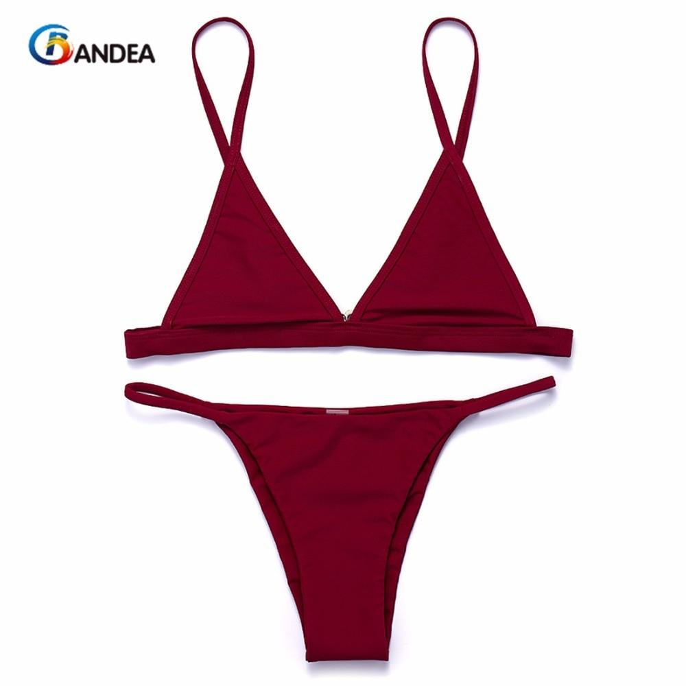 BANDEA women bikini set sexy brazilian bikini solid swimwear micro bikini low waist thong bikini bathing suit beach wear HA924