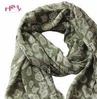 Originale Stile Giapponese In Cotone E Lino Sciarpa Paisley Vintage Verde Sciarpe Nappe Bordo Inferiore Scialli di Modo Delle Donne Lunghe Sciarpe