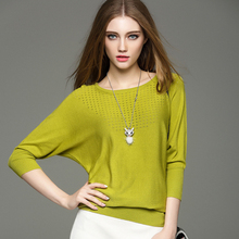 Women Pullovers 2016 New Autumn Fashion Women Hollow Out Batwing Sleeve O-Neck Slim Knitted Pullover Sweaters Knitwear Feminino