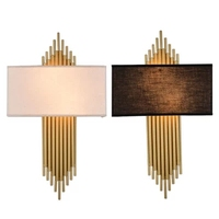 Modern LED Fabric + Iron Wall Lamp decoration double tube E27 switch lighting Bedroom reading Bedside black/white