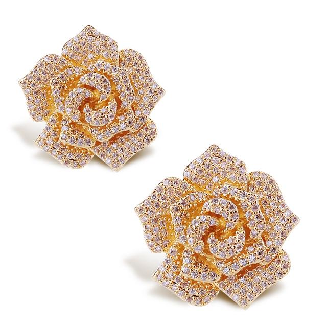 Mirada dulce Forma de La Flor Chapado En Oro Stud Pendientes de Plomo Cubic Zirconia Pendientes de Piedra de Plata del Pin de la Boda Envío Gratis