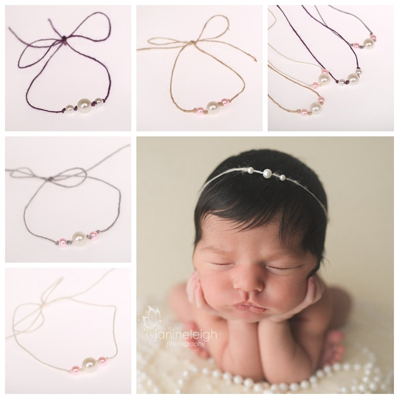 New Baby Pearl Headband Grey Purple Ivory Khaki Pearl Tieback Hemp Headbands Newborn Photography Props Hair Accessories