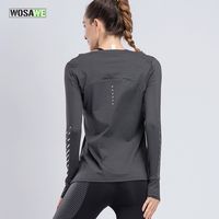 WOSAWE Women S Sports Yoga Shirts Pure Color Tight Long Sleeves Jersey Gym T Shirts Top