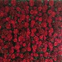 2.4 м x 2.4 М Горячий красный роскошный цветок фон Свадебный цветок стены Искусственные розы украшения фона сцены