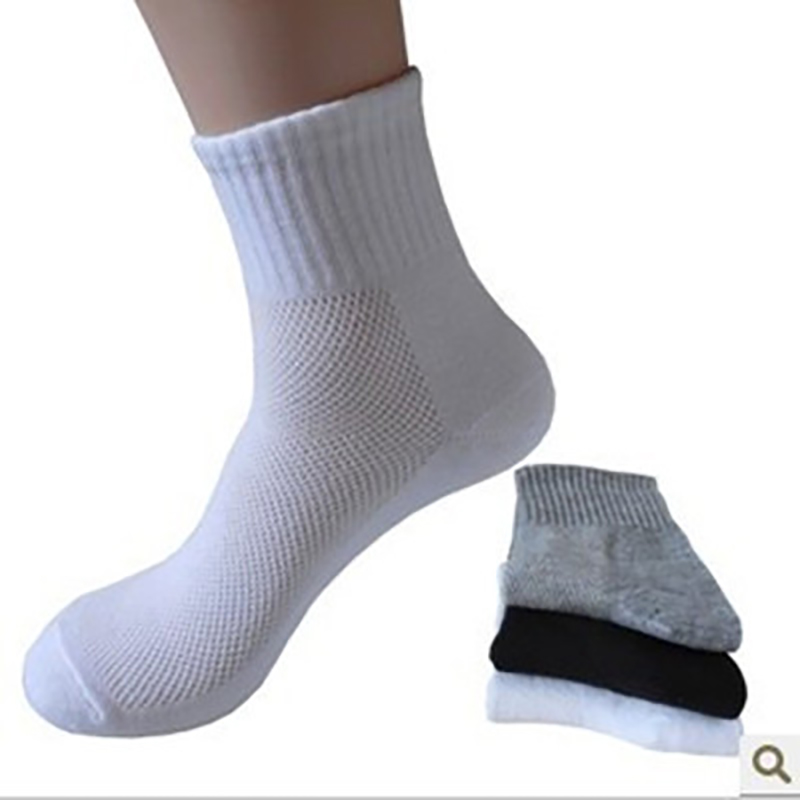 20pcs = 10 Pairs Summer Men's Socks Mesh Breathable Business Cotton Male White Black Gray Fashion Casual Socks