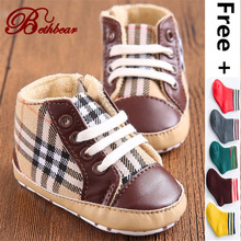 2017 Baby Boy High-quality Casual Shoes Brand British Burbry Aristocratic Gingham Canvas Baby Shoes Non-Slip Lace-Up Shoes Baby