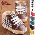 2017 Baby Boy Zapatos Casuales de Alta Calidad Marca Británica Aristocrática Burbry Guinga Lienzo Zapatos de Bebé Antideslizante Con Cordones zapatos de Bebé