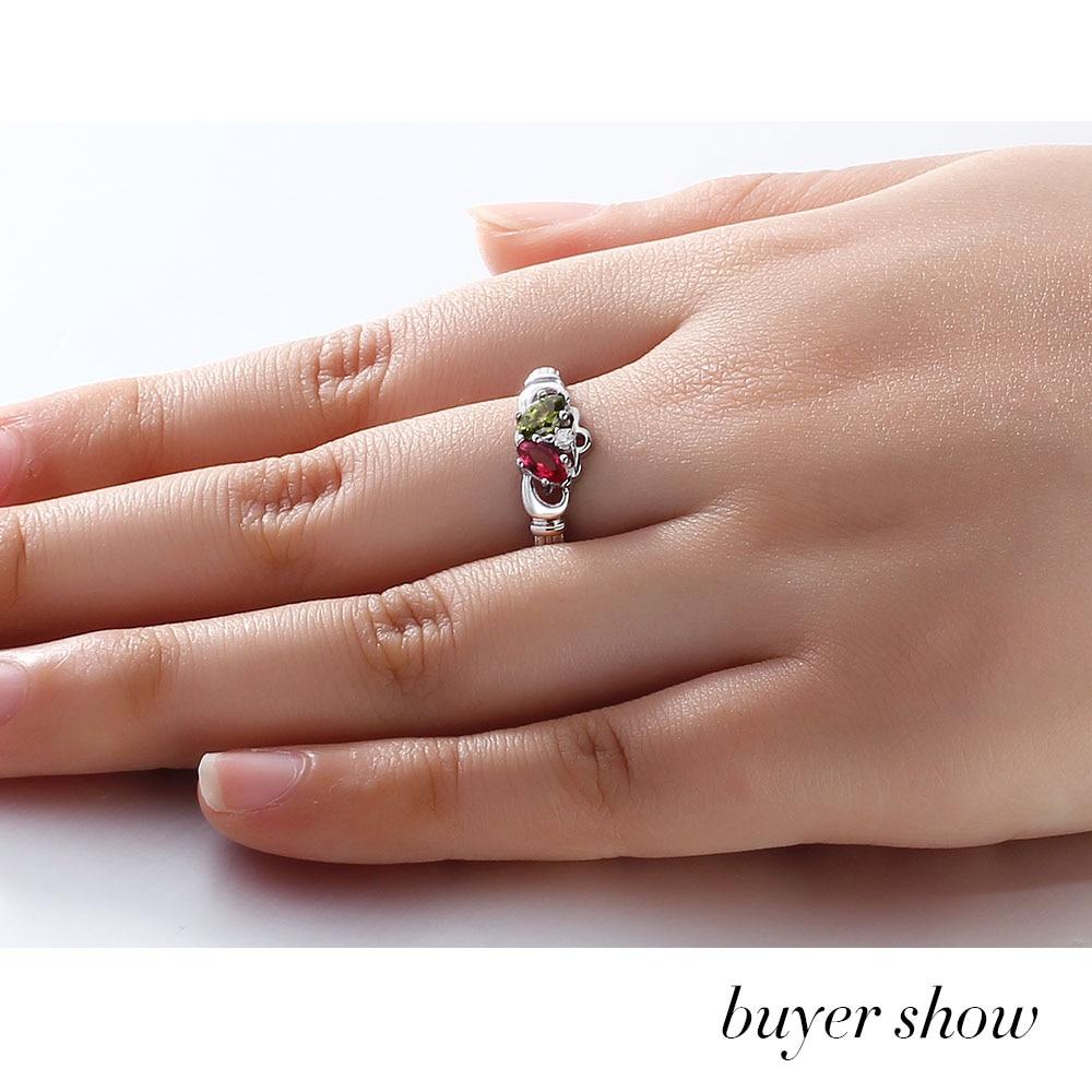 925 Sterling Silber Name Gravieren Ring Bunte Birthstone Ringe Für - Edlen Schmuck - Foto 4