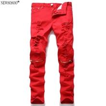Newsosoo бренд Разорвал Джинсы Брюки Колено Отверстие Джинсы Мужчин Тонкий Тощий разрушенные Torn Жан страх божий красный черный джинсы hommes MJ79