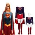 Nueva Llegada de Superman Supergirl Zentai Cosplay Traje de Superhéroe Traje de Alta Calidad Por Encargo con Monos Del Cabo