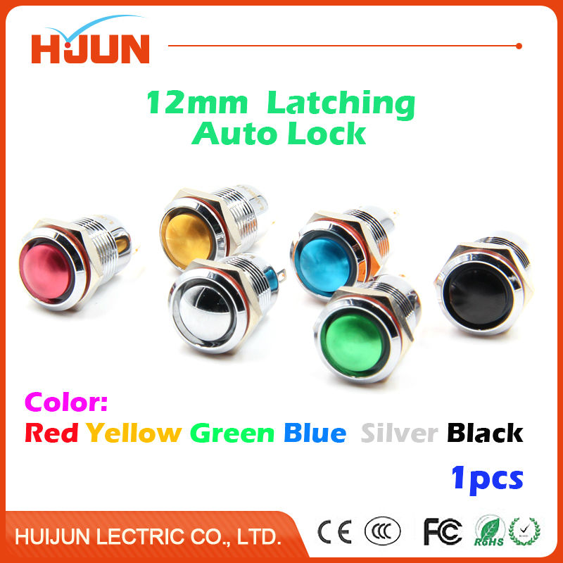 1pcs 12mm Latching Push Button Switch Waterproof Domed Round Stainless Steel Metal Car Horn Bell Clourful Oxidation Auto Lock 1pcs 16mm momentary push button switch waterproof high round stainless steel metal car horn bell clourful oxidation auto reset