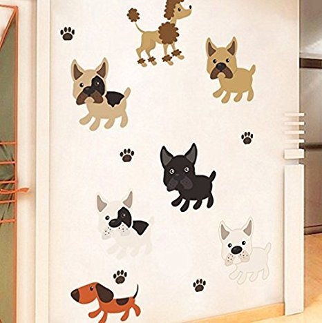 Cute Dogs Wall Sticker For Kid Rooms Home Kindergarten Classroom