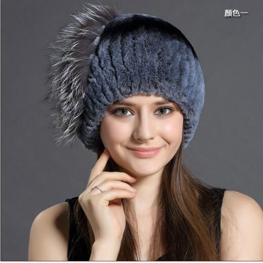 New in women fashion thick and warm rabbit fur winter knitted hat high quality K1-K7 rabbit hair lady autumn winter new weaving small pineapple fur hat in winter to keep warm very nice and warm comfortable