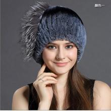 Novo em mulheres moda grosso e quente de pele de coelho inverno chapéu feito malha de alta qualidade K1-K7