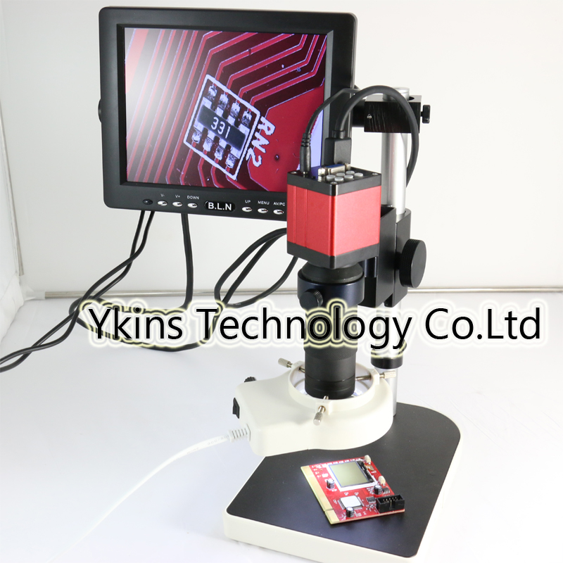 Full set 13MP HMID VGA outputs Industry Microscope Camera stand+130x C-mount +56 led rings +8monitor screen hd 13mp hmid vga output industrial microscope camera 2 5x c mount measurement software