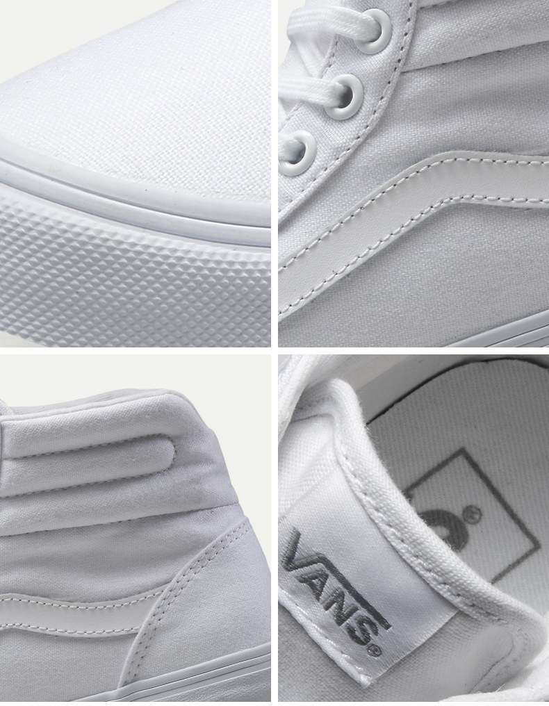 Original Vans New Arrival White Color High-Top Women's Skateboarding Shoes Canvas Sneakers free shipping