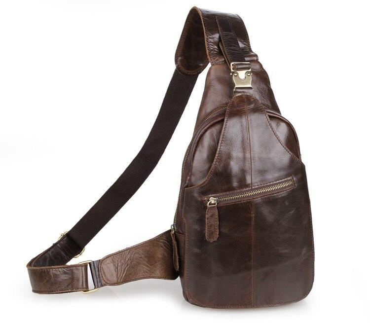 ФОТО 2017 Men Genuine Leather Chest bag Travel Sling Bag Men Crossbody Shoulder Bag Casual Brand Vintage Male Messenger Bag 5001